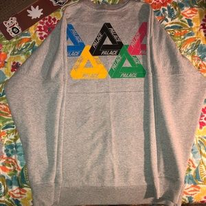 Palace Olympic Crewneck Sweater in Heather Grey